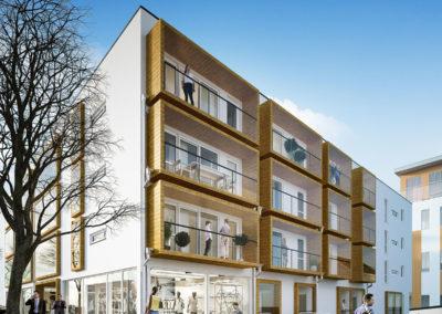 Illustrasjon stue m/ innglasset balkong